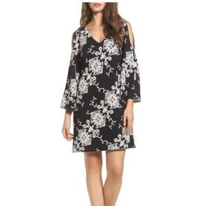 Adrianna Papell Embroidered Cold Shoulder Dress